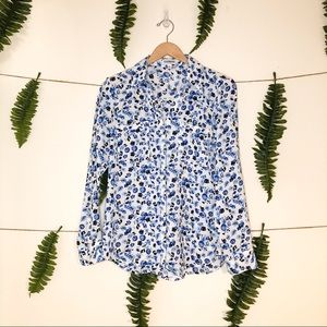 Express Portofino Shirt blue Floral Medium
